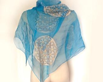 Turquoise Silk Scarf, Mandala Silk Scarf, Flower of Life Scarf