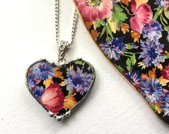 Vintage chintz china, heart pendant necklace,  antique majestic chintz, pink blue floral broken china jewelry - eco-friendly