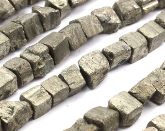 1 Pyrite  Irregular Square Raw Pyrite Beads Full Strand (10x9mm)T033