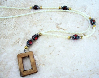 Mother of Pearl Ring Eyeglasses Necklace, Red Stone Eyeglass Lanyard, Eyeglass Chain, Eyeglasses Holder