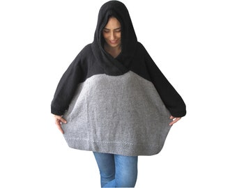 Plus Size Sweater, Over Size Sweater, Hoodie, Hooded Wool Sweater, Boyfriend Sweater, Black and Gray, Maternity Clothing, Hood