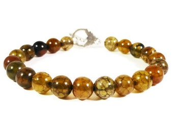 Agate Stone Bracelet, Yellow and Black Gemstone Bracelet, Fire Agate, Beaded Bracelet, Beadwork Jewelry, Costume Jewelry, Gift for Her