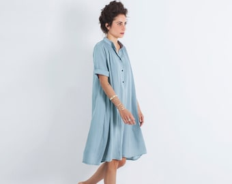 Oversized Dress, Loose Dress, Light Blue Dress, Bohemian Loose Dress, Oversized Clothing, Midi Dress, Summer Dress, Loose Dress Women, Boho