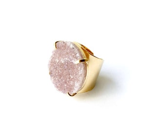 On Sale! Druzy Prong Ring - Adjustable
