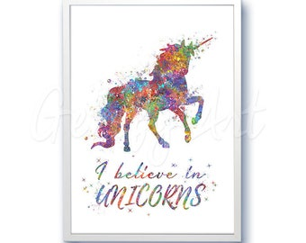 Unicorn Quote [2] Watercolor Art Print  - Home Living - Animal Painting - Unicorn Poster - Wall Decor - Home Decor - House Warming Gift