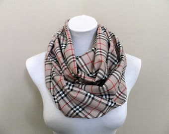Plaid Circle Scarf, Infinity Scarf, Loop, Scarves, Shawls, Spring - Fall - Winter Fashion - Aslidesign
