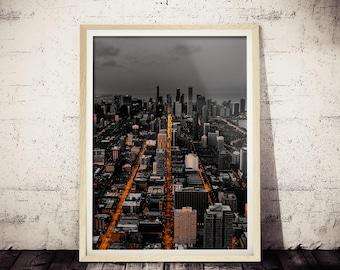 Chicago Street Photograph, CHICAGO Picture, Photographic Art Print of CHICAGO, Dark Cityscape, Black and White Print, Millennials Modern Art