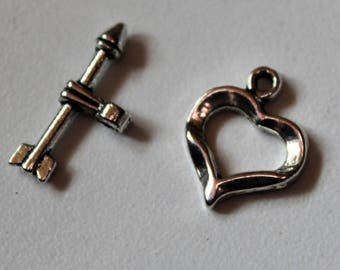 Silver x 1 Toggle clasp - heart love Valentine - metal - jewelry customization