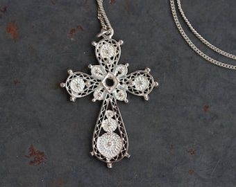 Filigree Silver Cross Necklace - Antique Ornate crucifix Pendant on Sterling Silver Chain