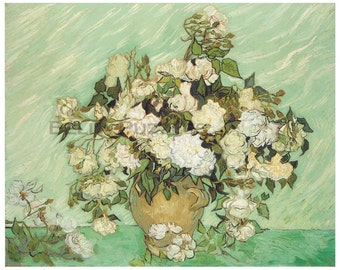 Hand-cut wooden jigsaw puzzle. ROSES. Van Gogh. Impressionist puzzle. Impressionism. Wood, collectible. Bella Puzzles.