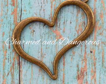 2 Antique Bronze Open Heart Pendants (P39)