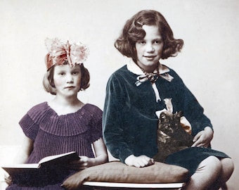 Butterfly FAiry Princess Girls Holding CAt in Lap Vintage photo tinted photograph print