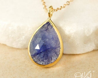 Gold Blue Iolite Teardrop Necklace - Iolite Jewelry - Choose Your Setting