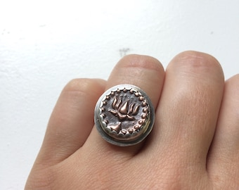 Sacred Lotus Wax Seal Ring - Sterling Silver and Copper Artisan Metalwork Ring Size 6 - Unique Buddhist / Yoga Jewelry Gifts for Her
