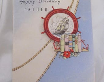 Greeting Card - Vintage Happy Birthday Father Card Art Deco - Unused 1930's