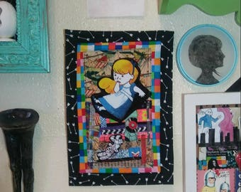 Alice in Wonderland Art Quilt fabric scrap collage wall hanging quilted sewing fiber arts