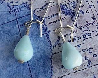 Peruvian blue opal earrings in sterling silver: peru opal earrings, blue gemstone earrings, natural gemstone aqua organic teardrop simple