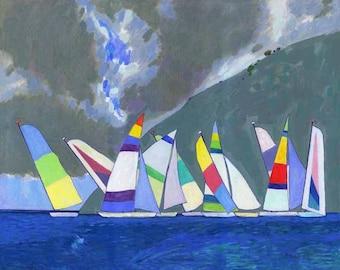Print of Oil LANDSCAPE, sailboats oil painting, sea painting, boats fine art prints, modern print, sailboats ocean art, seascape art