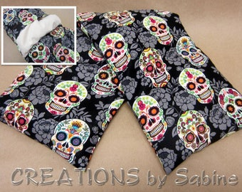 Corn Heating Bag with washable cover Microwaveable Pillow Neck Back Wrap Sugar Skulls Skull Colorful Day of the Dead READY TO SHIP (521)