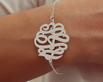 Personalized Monogram Bracelet 1.2 inch - Personalized Monogram - 925 Sterling Silver - Gift for her - bridesmaid gift