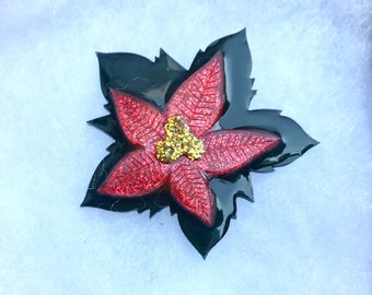 Christmas Resin Brooch Pin Red Green Poinsettia Flower Christmas Jewelry acrylic laser cut Christmas Star flower brooch pin