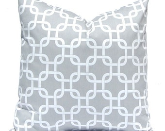 Gray Pillow Cover - Gray Chain Link on White - Decorative Pillow Covers - Accent Pillows - 20 x 20 - Bed Pillows - Grey Pillows