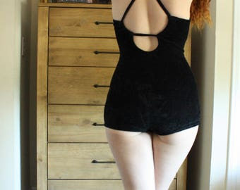 1950's CATALINA Women's Black Velvet One Piece Swimsuit