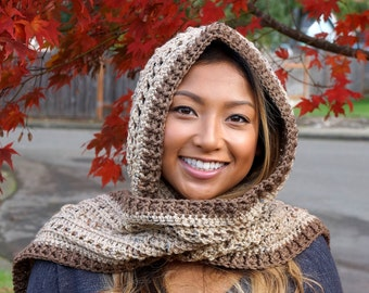 Hooded Scarf in Tan Fleck and Chocolate Brown