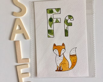 Clearance! Animal letter cards, leaf design