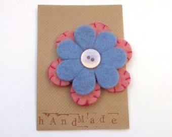 Felt flower brooch - light blue and light pink