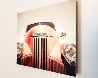 "Old Truck Photography, 8x10 Metal Print, Studebaker Art, Boys Room, Man Cave, Orange Wall Art, Vintage Truck, Garage Art, Classic Car ""Stud"""