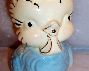 Vintage 1950's Baby Blue American Bisque Chick Pitcher-Trimmed in Gold-Good Condition