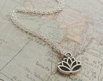Silver Hand crafted lotus flower necklace