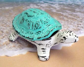 Turtle Trinket Dish Beach Blue Shabby Cottage Chic Garden Hide Key Nautical Sea Life Cast Iron Shell Lid Jewelry Holder Tortoise Dish