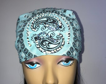 Ladies Baby  Blue Chemo Blinged and Beaded Bandana