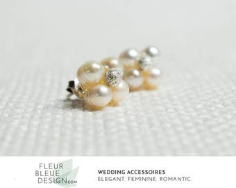 pearl stud earrings | bridal earrings | wedding studs | bridal jewelry silver