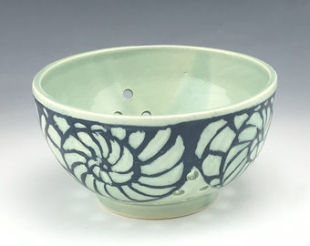 Sgraffito Berry Pottery Bowl in Aqua Nautilus
