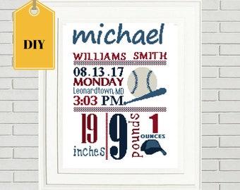 Baby Cross stitch pattern/DIY Cross Stitch/birth announcement cross stitch/baby chart/baseball cross stitch/ baby cross chart