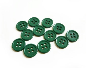 6 Tiny Forest Green Buttons, 10mm