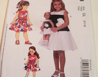 """Girls Party Dress sleeveless holiday Laura Ashley Matching 18"""" doll outfit McCalls 7074 Size 6 7 8 UNCUT FF"""