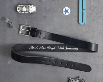 Personalised Leather Belt - Secret Message Belt - 3rd Anniversary Gift - Fathers Day Gift - Gift for Dad - Personalized Hidden Message Gift