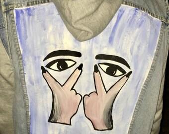 Hand painted, denim, destroyed, vest
