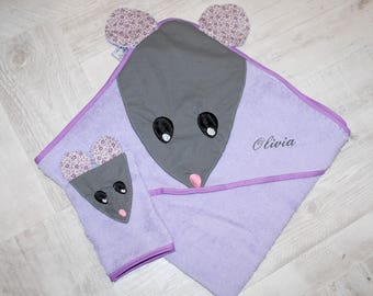 Hooded towel and matching washcloth-mouse hooded towel personalized - baby - list birth gift