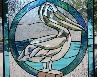 Magnificent Beveled Pelican Leaded Stained Glass Window Panel  (We do custom work, email for a quick quote)