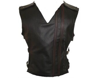 The Baddie Black Leather Vest Hiker Design Adjustable Interchangeable Custom Fit