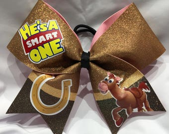 """He's a smart one - Bullseye-Toy Story """"TEXAS/CHEER"""" LARGE Size Glitter Bow"""