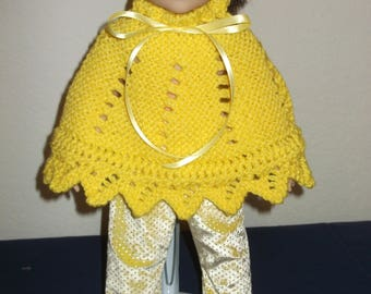 Dolls yellow poncho and pants
