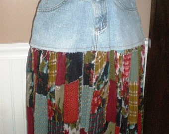 Repurposed Jeans Skirt