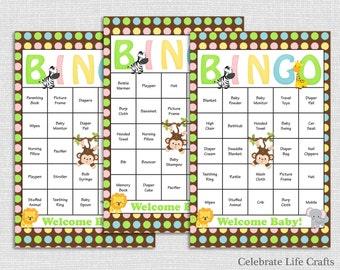 30 Safari Baby Shower Bingo Cards - Printable Party  - Instant Download - Jungle Animals Baby Shower Bingo Boy Monkey Elephant Zebra N019