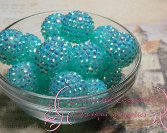 20mm AB Aqua strass perles Qté 8